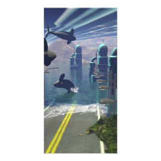 Flying orcas custom photo card