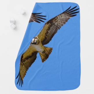 Flying osprey with a target in sight baby blanket