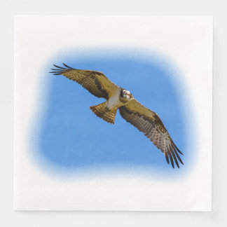 Flying osprey with a target in sight disposable napkin