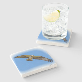 Flying osprey with a target in sight stone coaster