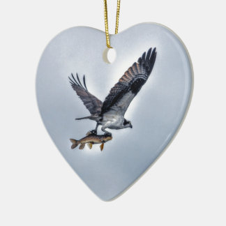 Flying Osprey with Walleye Fish HDR Photo Ceramic Heart Decoration