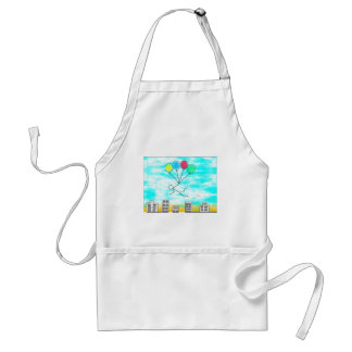 Flying Over The City With Balloons Apron