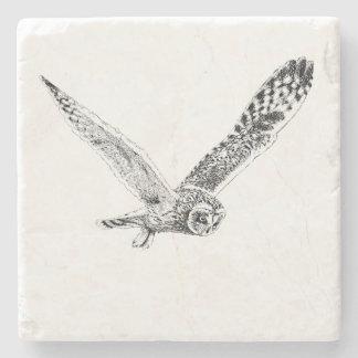 Flying Owl Illustration Stone Coaster