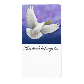 Flying Peace Dove Bookplate Shipping Label