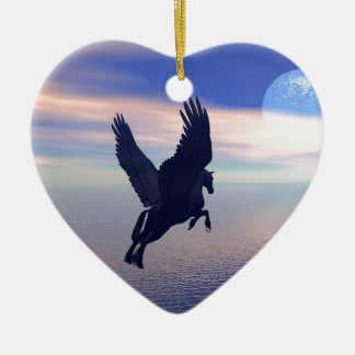 Flying Pegasus in Blue Sky Ceramic Heart Decoration