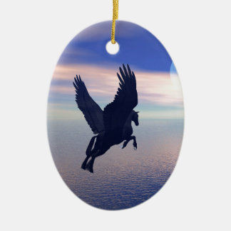 Flying Pegasus in Blue Sky Ceramic Oval Decoration