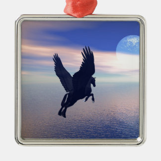 Flying Pegasus in Blue Sky Silver-Colored Square Decoration