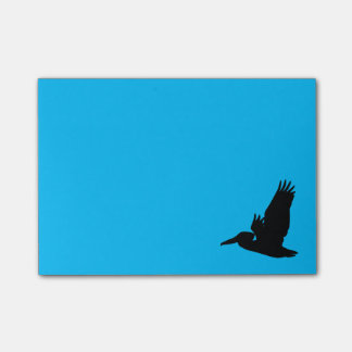 Flying Pelican Silhouette Sky Blue Post-it Notes