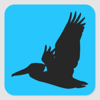 Flying Pelican Silhouette Sky Blue Square Sticker