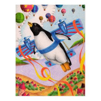 Flying penguin postcard