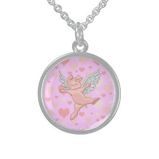 Flying Pig and Pink Hearts Necklace