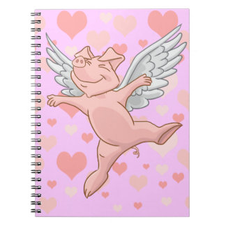 Flying Pig and Pink Hearts Notepad Spiral Notebook