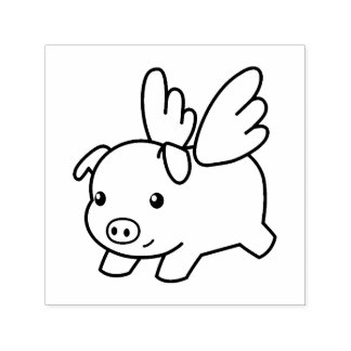 Flying Pig - Believe, Piglet with Wings Self-inking Stamp