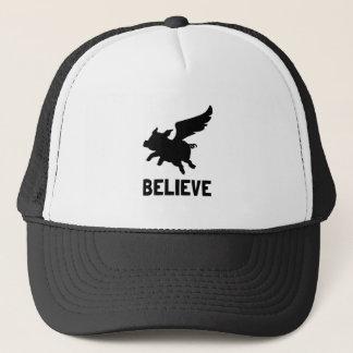 Flying Pig Believe Trucker Hat