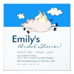 Flying Pig Bridal Shower Invitation 13 Cm X 13 Cm Square Invitation Card