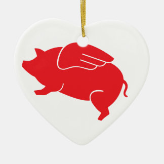 flying pig  🐷 ceramic heart decoration