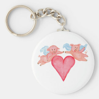 Flying Pig Couple with Heart Basic Round Button Key Ring