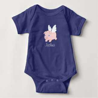 Flying Pig - Cute Piglet with Wings Baby Bodysuit