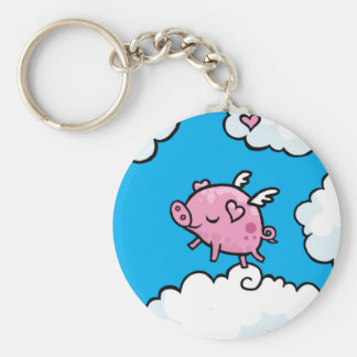 Flying pig dances on clouds keychain