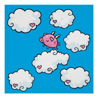 Flying pig dances on clouds poster