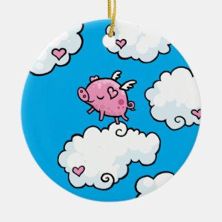 Flying pig dances on clouds round ceramic decoration