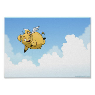 Flying Pig in the Clouds Poster