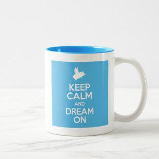 flying pig-keep calm and dream on Two-Tone coffee mug