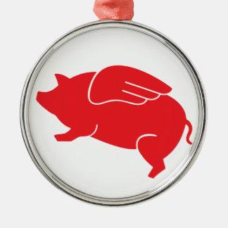 flying pig  🐷 metal ornament