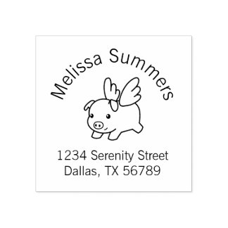 Flying Pig, Piglet with Wings Address Rubber Stamp