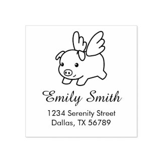 Flying Pig - Piglet with Wings Address Rubber Stamp