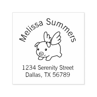 Flying Pig - Piglet with Wings Address Self-inking Stamp