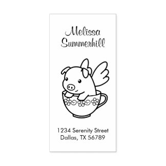 Flying Pig - Piglet with Wings in a Teacup Address Rubber Stamp