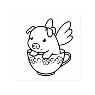 Flying Pig - Piglet with Wings in a Teacup Rubber Stamp