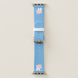 Flying Pig - Piglet with Wings on Blue Apple Watch Band