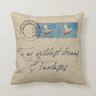 flying pig postage pillow