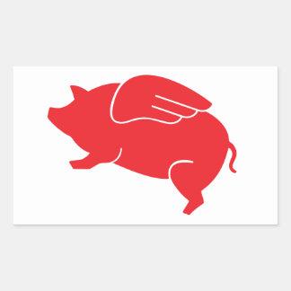flying pig  🐷 rectangular sticker