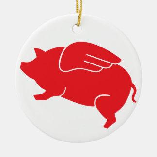 flying pig  🐷 round ceramic decoration