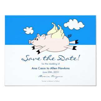 Flying Pig Save the Date 11 Cm X 14 Cm Invitation Card