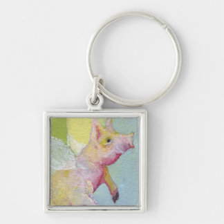 Flying Pig Silver-Colored Square Key Ring