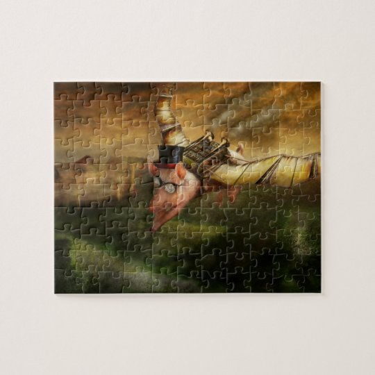 Flying Pig - Steampunk - The flying swine Jigsaw Puzzle
