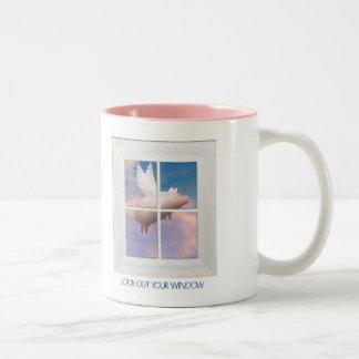 flying pig throught window mug