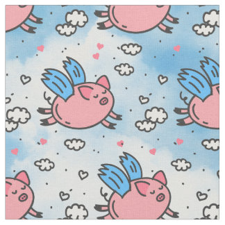 flying pigs fabric
