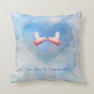 Flying Pigs Kiss-True Love Is Unbelievable Pillow