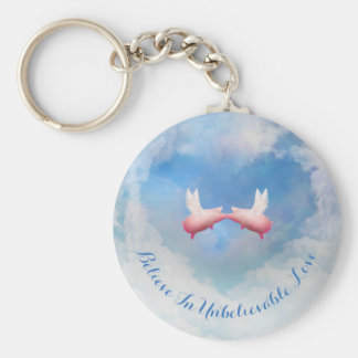 Flying Pigs Kissing-Believe In Unbelievable Love Basic Round Button Key Ring