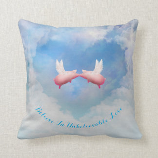 Flying Pigs Kissing-Believe In Unbelievable Love Cushion