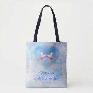 Flying Pigs Kissing-Believe In Unbelievable Love Tote Bag