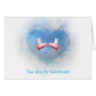 Flying Pigs Kissing-True Love Is Unbelievable Card