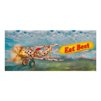 Flying Pigs - Plane - Eat Beef Custom Rack Card