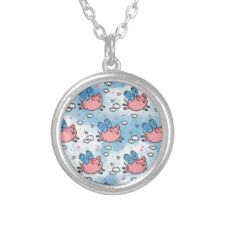 flying pigs silver plated necklace