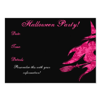 Flying Pink Witch Halloween Invitation